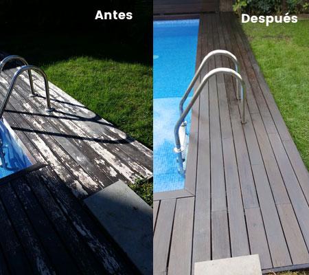 Tratamiento madera tropical en tarima piscina