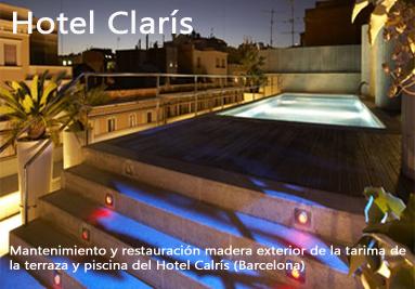 Tratamiento madera exterior terraza y tarima piscina madera Hotel Claris