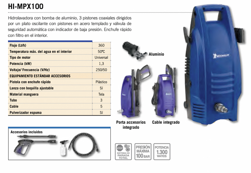Hidrolavadora Hidrolimpiadora para madera Michelin HI-MPX100